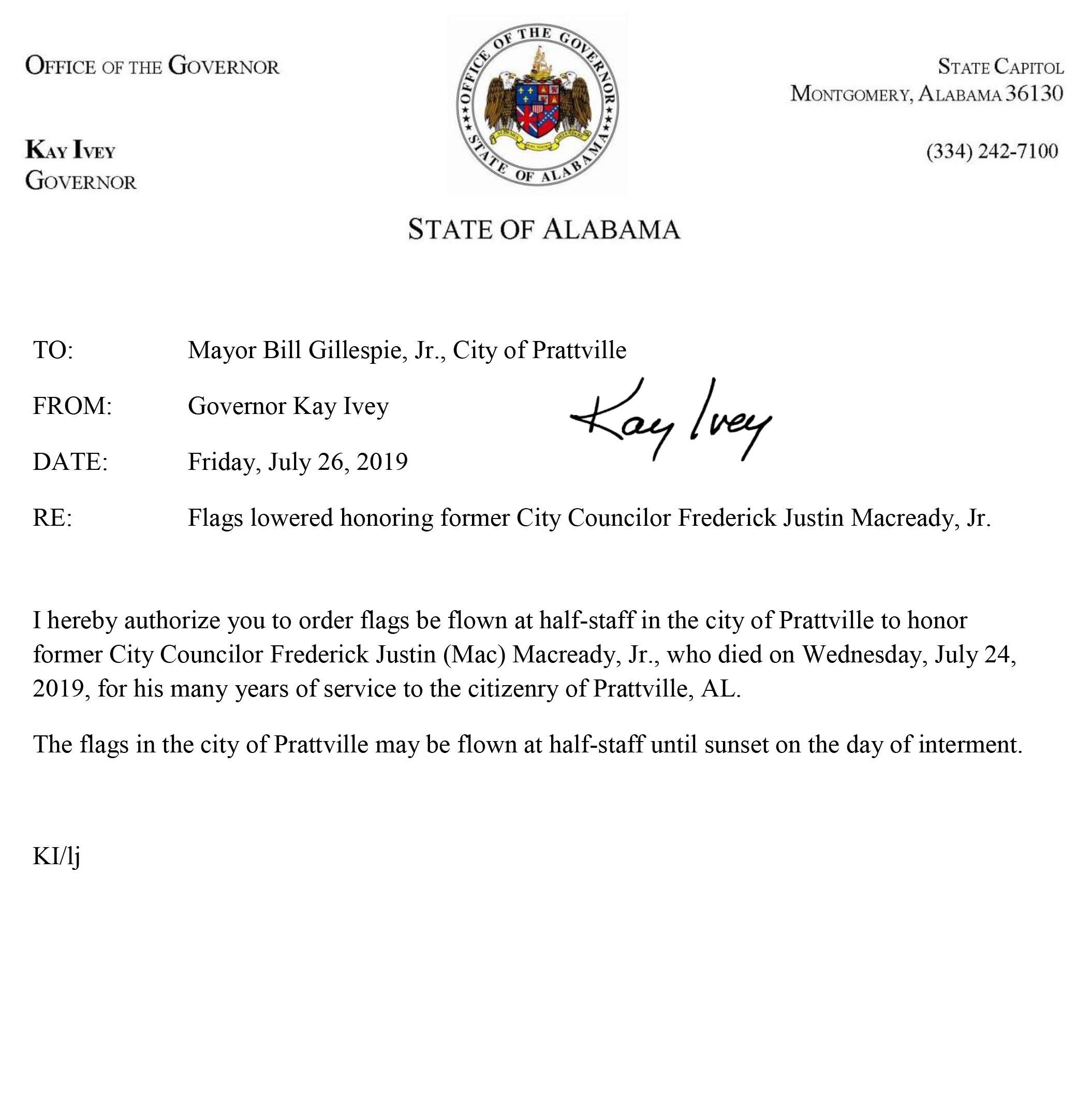 Flag Memo for former City Councilor Frederick Justin Mac Macready Jr.