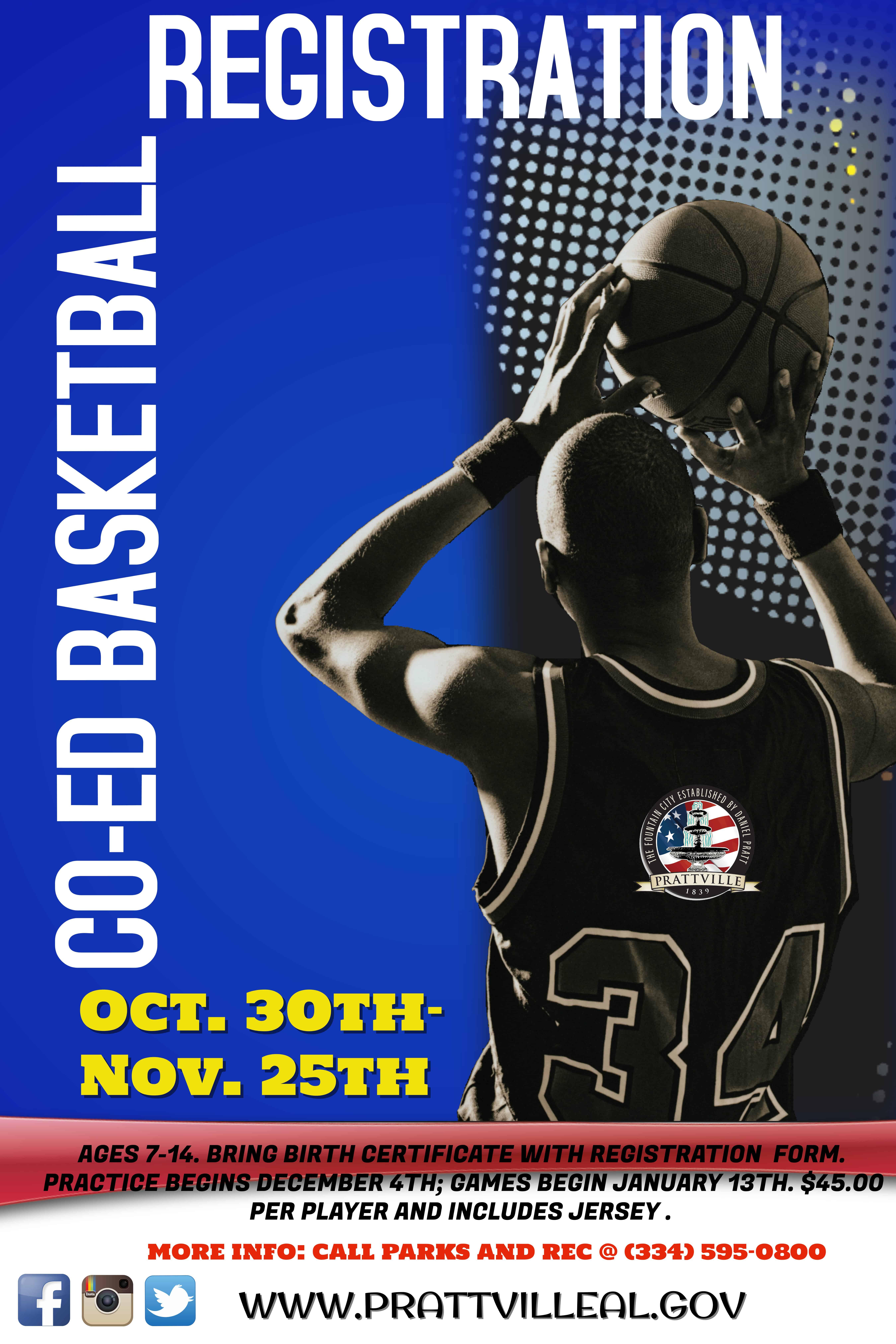 YOUTH COED BASKETBALL   Parks & Recreation : Prattville, Alabama - PrattvilleAL.gov - Official ...