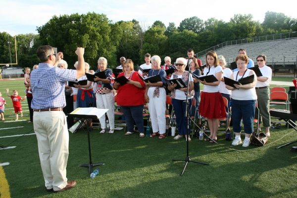 Entertaining the crowd at the 4th of July Patriotic Program prior to the fireworks.